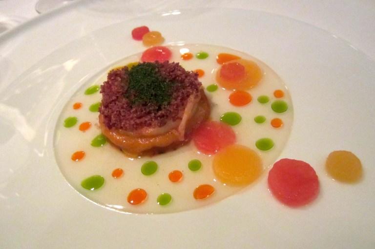 Red prawn & sobrasada. Red bell pepper, tomato, melon & piment d'Espelette