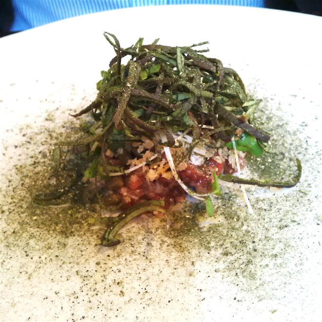 Tartare of 60 Day aged Hereford Rib, Seaweed, Mustard Leaf & Dripping Crumbs.