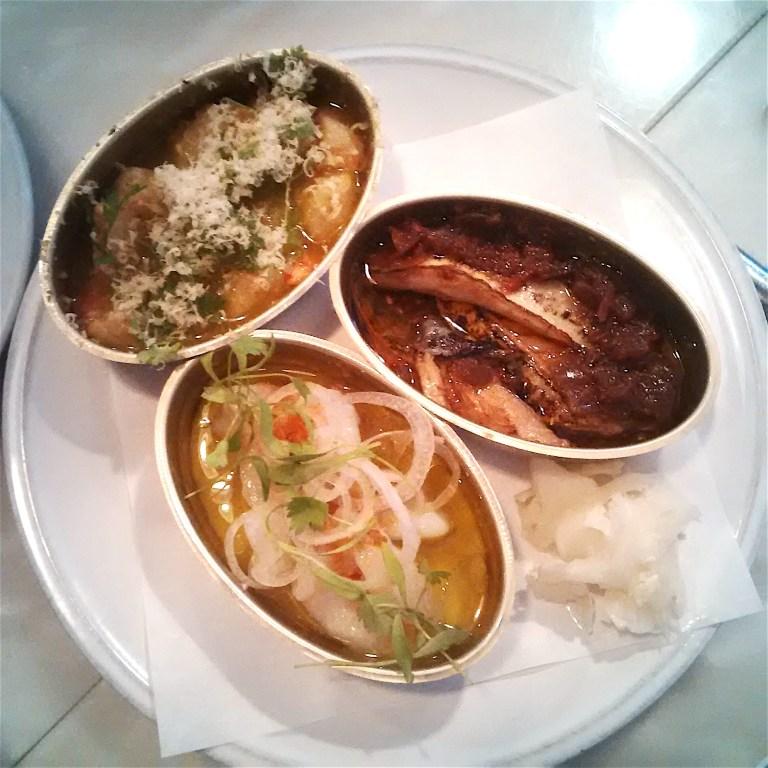 House tinned fish: scallops, monkfish cheeks and mackerel