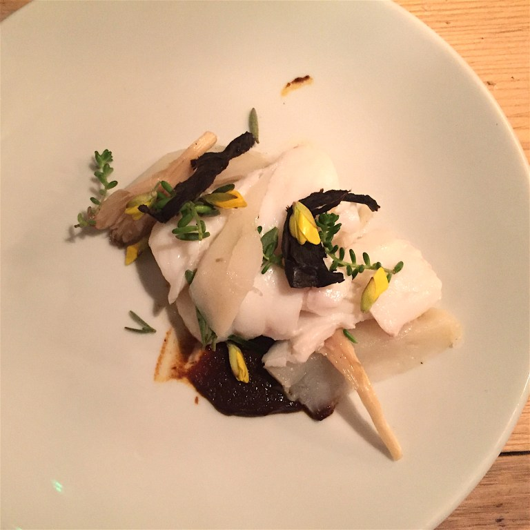 Cod and chokes with mole. Cod and Jerusalem artichoke with butter mole and wild Kent herbs