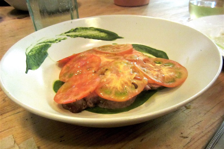 Grilled lamb with wild garlic emulsion and Marinda tomatoes