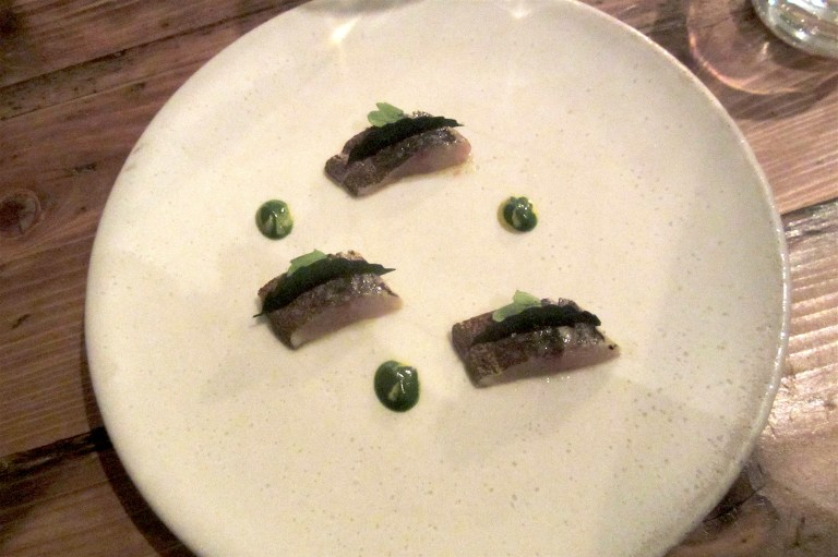 Flamed Cornish Mackerel, English Mustard & Chrysanthemum