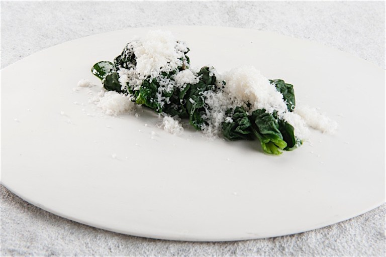 Spinach, Parmigiano, grappa and junoper. Photo: Brambilla Serrani