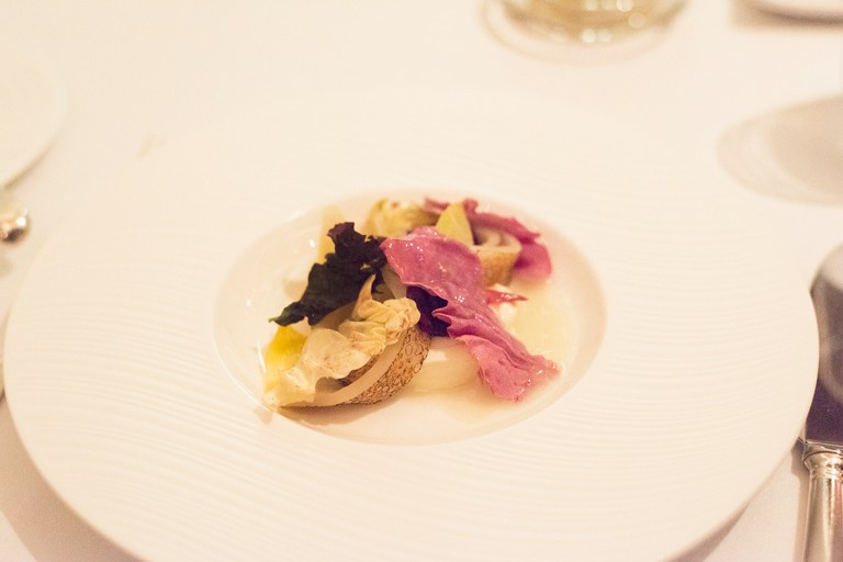 Sherry & crème fraiche/scallop bonito/Roquefort/bitter leaves/candied pecans - Alyn Williams