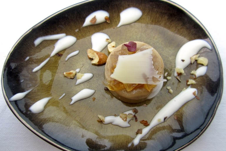 Cedar and liquirice creme brulèe with fondue of provolone del monaco and nuts