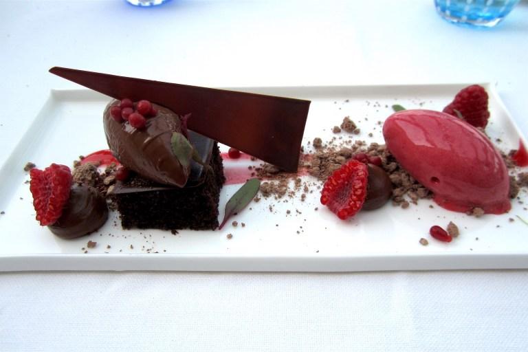 Chocolate and raspberries