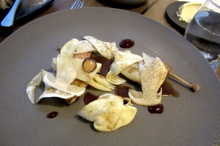 Yorkshire partridg, fermented red cabbage, shaved cep mushrooms