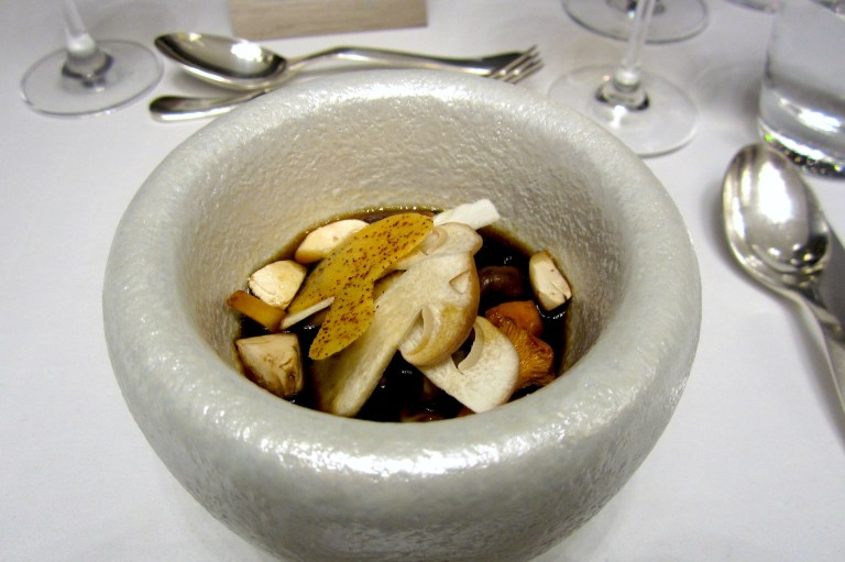 Wild mushroom flan with broth