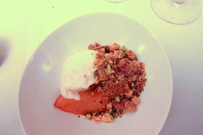 Poached quince, ginger and ewe's milk yogurt