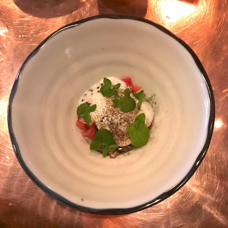 Salt baked beetroot, sheep's yogurt, smoked eel, caviar