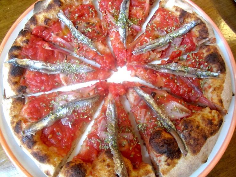 Anchovies, red onion, orange oil, tomato, oregano