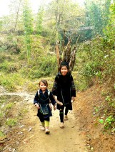 Black Hmong mother and child collecting fire wood from the mountains