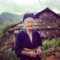 Black Hmong local lady softening her Hemp skein for fabric