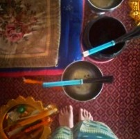 Singing bowls and perfume incense sticks