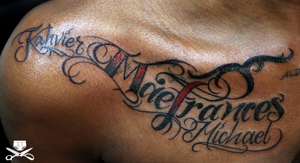Lettering Kevin Name Tattoo Designs