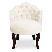 Princess Vanity Chair - Ivory Velvet Vanity Chair ...