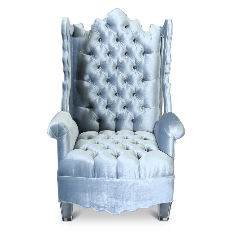 velvet tufted chair contemporary leather dining chairs with arms isabella wing cutout light blue hautehousehome com