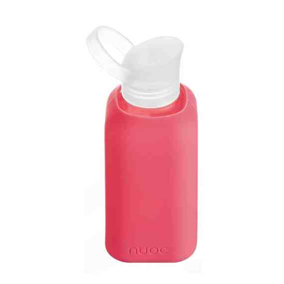NUOC Silicone sleeved glass water bottle 500ml in Fuchsia