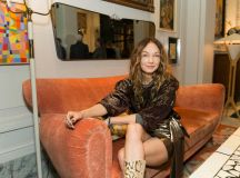 Kelly Wearstler sits in the San Francisco Proper Hotel's lobby at the opening party on November 16