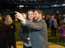 Natalie Coughlin and Jonny Moseley at last year's Holiday Heroes