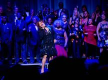 Valerie Simpson on stage with the Glide Memorial Chuch's choir
