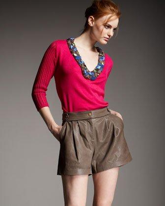 Tibi Easy Leather Shorts $575