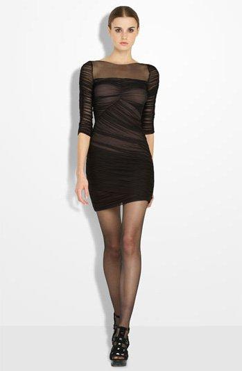 BCBGMAXAZRIA Illusion Bodice Ruched Sheath Dress
