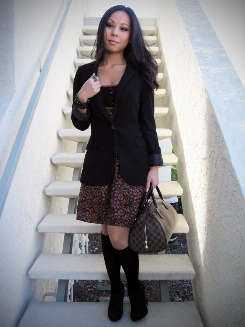 An Dyer: Express boyfriend blazer | Charlotte Russe satin dress | Target socks | Michael Antonio black boots | Banana An bracelets | Louis Vuitton Ribera Mm bag