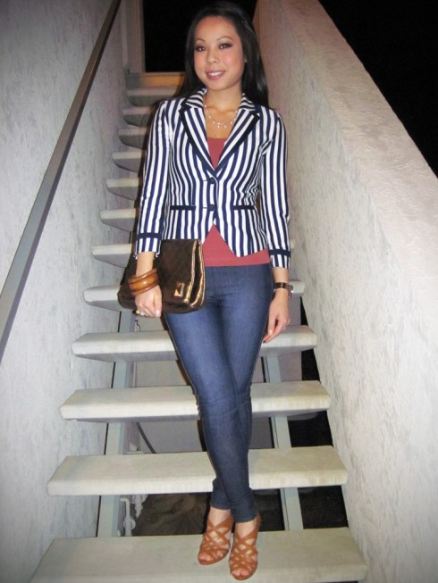 An Dyer in H&M Breton Striped Blazer   Brass Plum Camisole   London Bridge Jeggings   Bakers Caged Heels   Michael Kors Watch   Pearl Necklace mady by my Mom :) and ring gifted from my Dad   Banana An Bangles