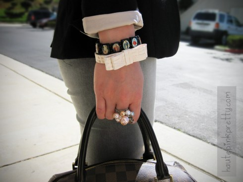 An Dyer in H&M Blush Lapel Black Blazer and Bow Bracelet | Forever 21 Camisole | Foreign Exchange Grey Jeggings | Steve Madden Platform Pumps | Louis Vuitton Ribera Mm | Michael Kors Watch | Banana An Carys Ring