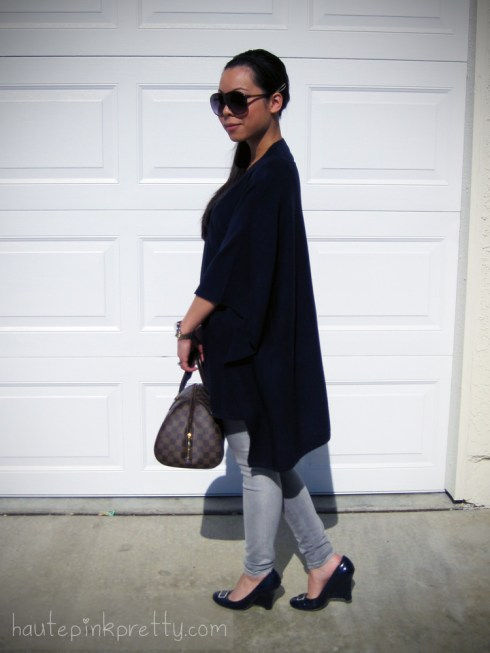 An Dyer in Navy H&M Poncho Grey Foreign Exchange Jeggings Patent Leather Navy Seychelles Wedges Grey Banana An Lennie Sunglasses Louis Vuitton Ribera Mm Michael Kors Watch 2