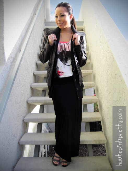 An Dyer in DKNY Lambskin Leather Moto Jacket | Forever 21 Black Maxi Skirt, Hot Pink Bandeau Top,  Silver Stackable Rings, Knotted Crystal Bead Necklace | H&M Printed Jersey Tank | Shoe Dazzle Ezra Shoes | Target Black Lace Cardigan