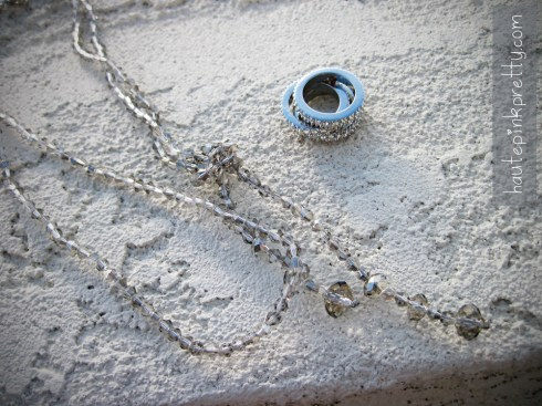 An Dyer Forever 21 Silver Stackable Rings, Knotted Crystal Bead Necklace