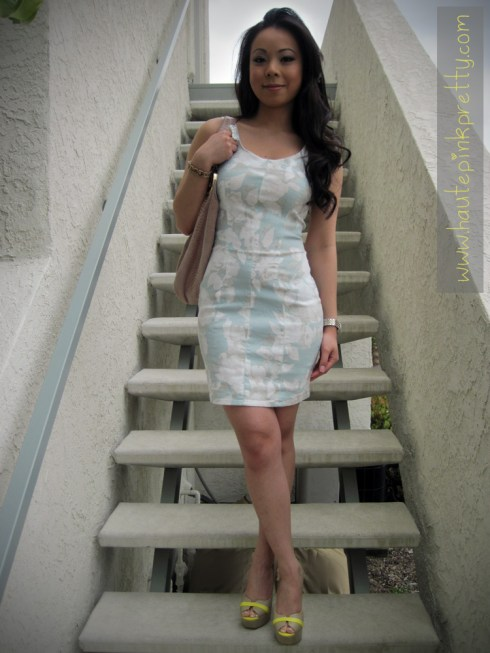 H&M Floral Dress | Forever 21 Bow Ring | Michael Kors Blush Hobo & Watch | ShoeDazzle Privy Peeptoe Platforms
