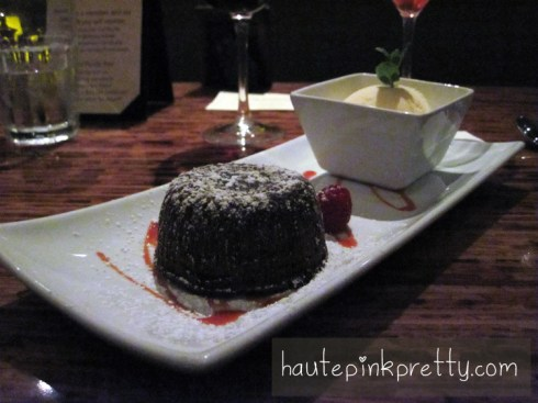 Paradise Grille Molten Chocolate Lava Cake, Vanilla Ice Cream, Raspberry Coulis