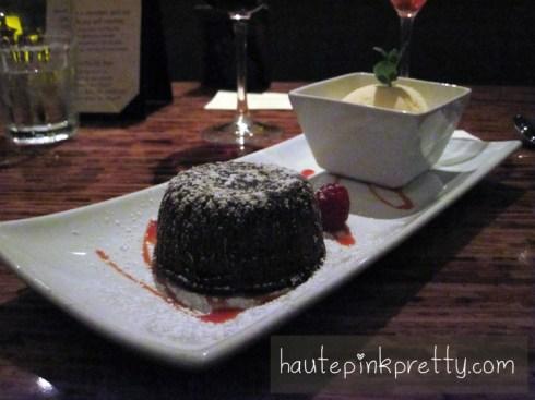 Paradise Grille Molten Chocolate Lava Cake, Vanilla Ice Cream, Raspberry Coulis