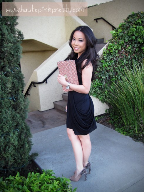 An Dyer wearing All Saints Dress, H&M Woven Clutch, Sam Edelman Lorissa Nude Leather 2