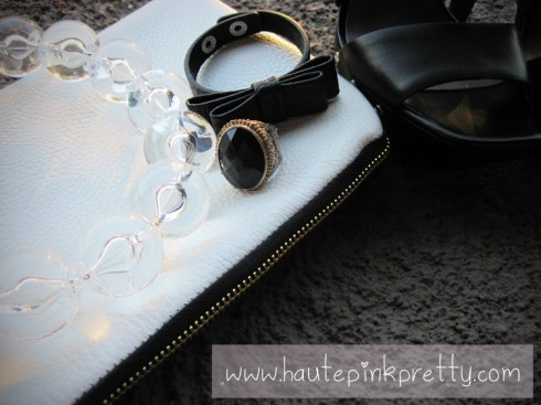 Jeffrey Lazaro White Leather Handmade Bag, Forever 21 Ring, Banana An Necklace and H&M Black Bow Bracelet 2
