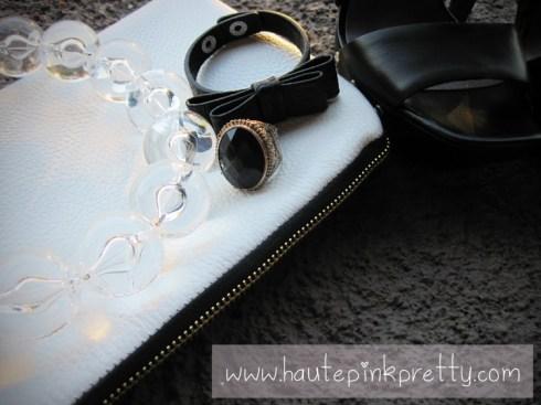 Jeffrey Lazaro White Leather Handmade Bag, Forever 21 Ring, Banana An Necklace and H&M Black Bow Bracelet 2