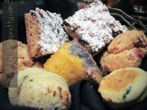 Bobby Flay's MESA Gril Caesars Palace Blueberry Coffee Cake, Blue Corn Bread, Cranberry Scone and Jalepeno Biscuits