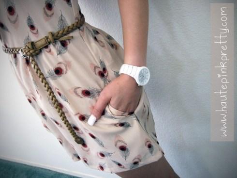 An Dyer in Forever21 Boutique Romper & Belt, Skagen White Ceramic Watch