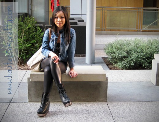 An Dyer in Express Denim Jacket, Forever 21 Love Tank and Black Bow Ring, American Apparel Leggings, Louis Vuitton Damier Azur Saleya Gm, Jeffrey Campbell Back Off Black Silver