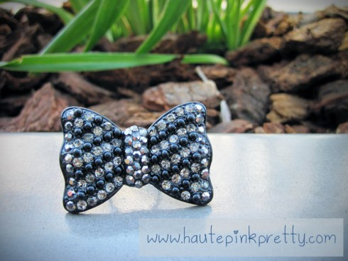 Forever 21 Black Silver Bow Ring