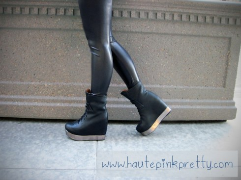 Jeffrey Campbell Back Off Black Silver with American Apparel Leggings