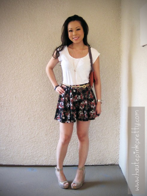 An Dyer in Forever21 Top, Shorts, Belt and Necklace, ShoeDazzle Mulberry Patent Nude Wedges, JC Penney Ring, Jeffrey Lazaro Bag, Fendi Sunglasses