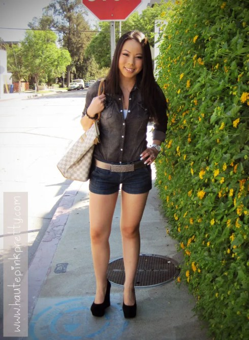 H&M Black Denim Top, Forever 21 Black Bow Ring, White Camisole and Denim Shorts, Baker's Maddie Wedges, Nordstrom Studded Belt and Louis Vuitton Saleya Gm