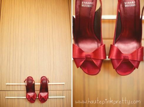 Dyer Wedding - Stuart Weitzman Red Satin Jumbo Peeptoe Slingbacks