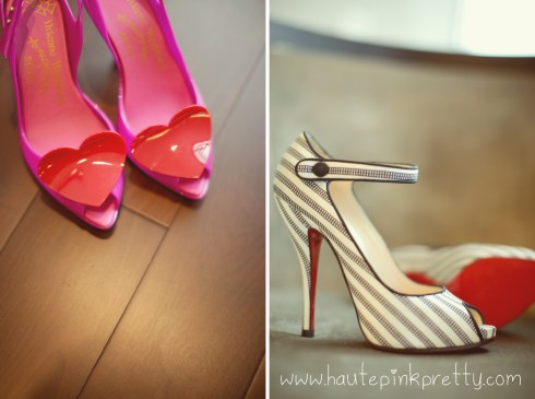 Dyer Wedding - Vivienne Westwood by Melissa Heart Peeptoe Shoes, Christian Louboutin Melita Mary Janes