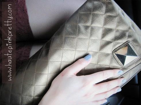 Grey Nail Polish, Forever 21 Burgundy Lace Shorts,Brass Plum Clutch