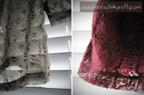 Forever 21 Floral Chiffon Blouse and Burgundy Lace Shorts Detail Shot